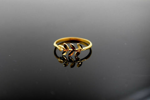 "22k 22ct Solid Gold ELEGANT Charm Mens Leaf Ring SIZE 8 ""RESIZABLE"" r1730 
