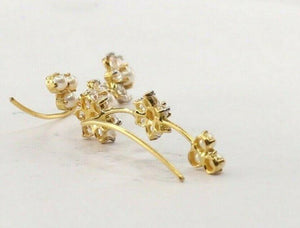 22k 22ct Solid Gold ELEGANT Simple Floral Earring With Pearl Design E6172 | Royal Dubai Jewellers
