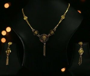 22k Beautiful Solid Gold Classic Greek Coin Necklace Set For Ladies LS269