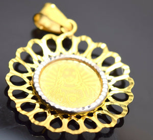 22k Solid Gold ELEGANT Christian Jesus FLOWER pendant P155 | Royal Dubai Jewellers