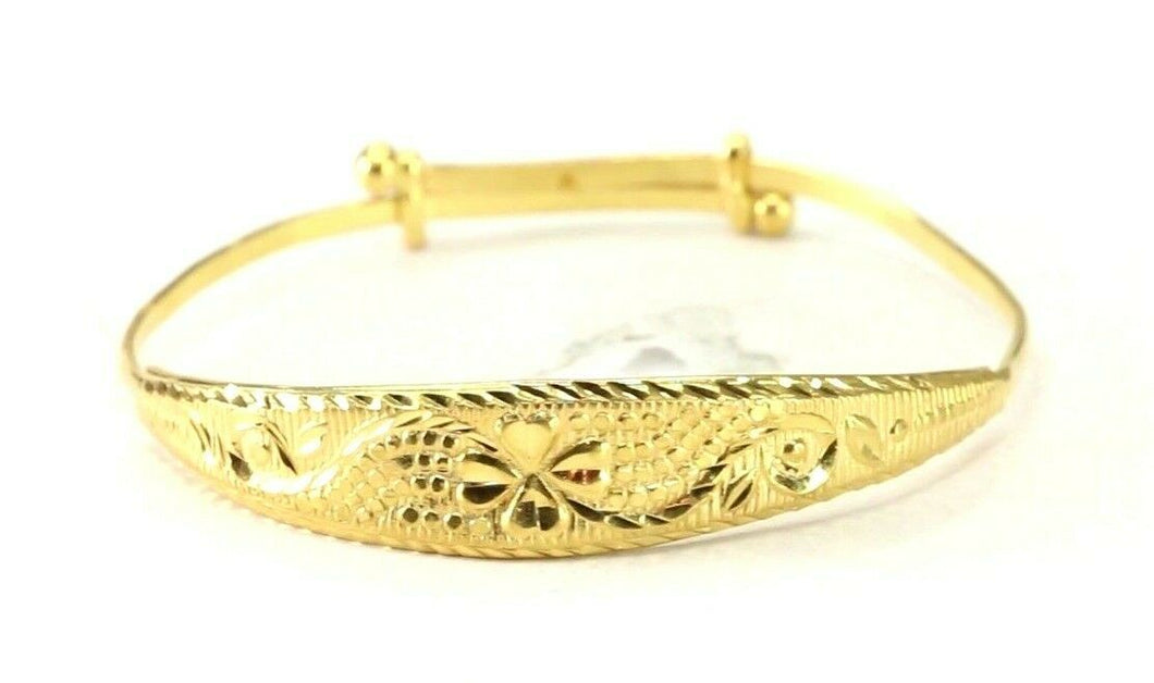 22k Bangle Solid Gold Simple Children Plain Diamond Cut Adjustable Bangle cb1350