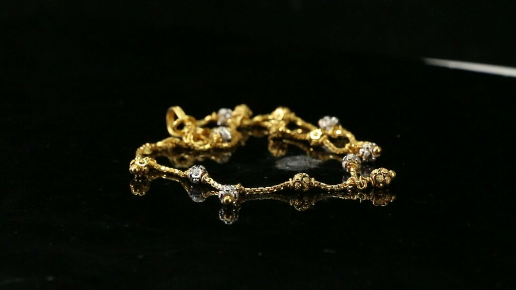 22k Bracelet Solid Gold Simple Ladies Classic Charm Two Tone Design b4098