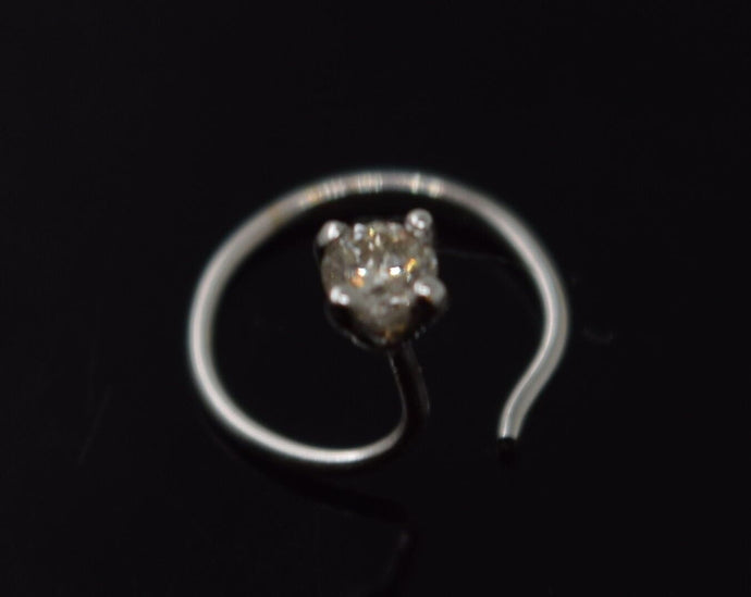 Authentic 18K White Gold Nose Pin Ring Round-Cut-Diamond VS2 n91 | Forever22karat