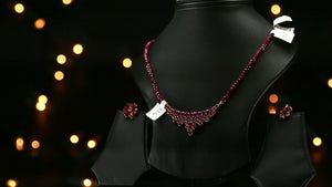 22k Beautiful Charm Solid Gold Classic Ruby Necklace Set For Ladies LS141