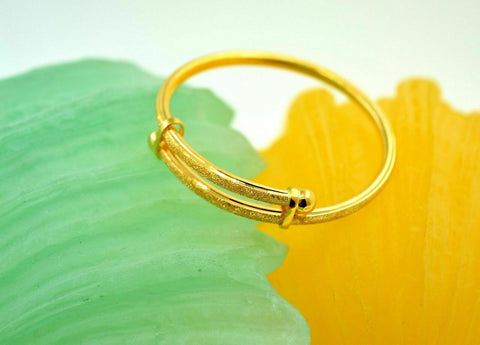 1pc 22k 22ct Solid Gold KIDS BABY Diamond LASER CUT DESIGNER BANGLE BRACELET mf | Royal Dubai Jewellers
