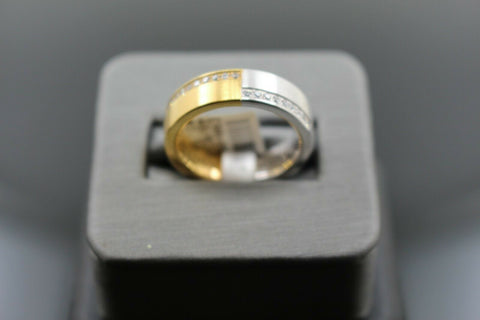 18k Solid Gold Elegant Ladies Modern Zirconia Shiny Finish Band Ring R9476m | Royal Dubai Jewellers