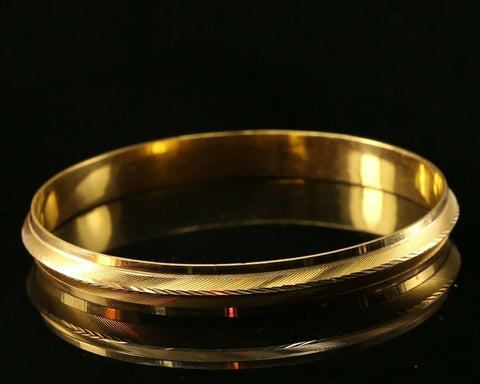 22k Bangle Solid Gold Simple Charm Glossy Men Kara Design Size 2.75 inch B1131 | Royal Dubai Jewellers