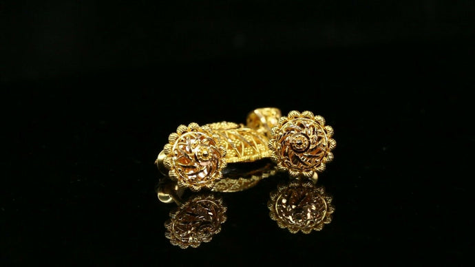 22k Pendant Set Solid Gold ELEGANT Classic Filigree Pendant Set p2158