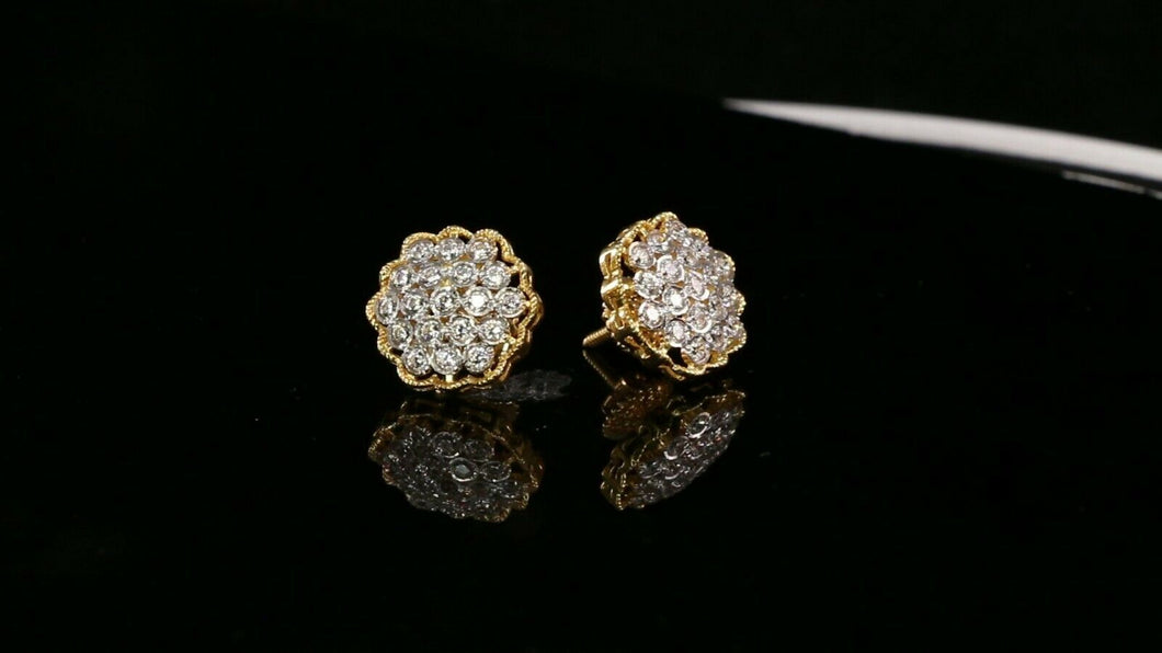 22k Earrings Solid Gold ELEGANT Simple Stones Encrusted  Studs Design e7317