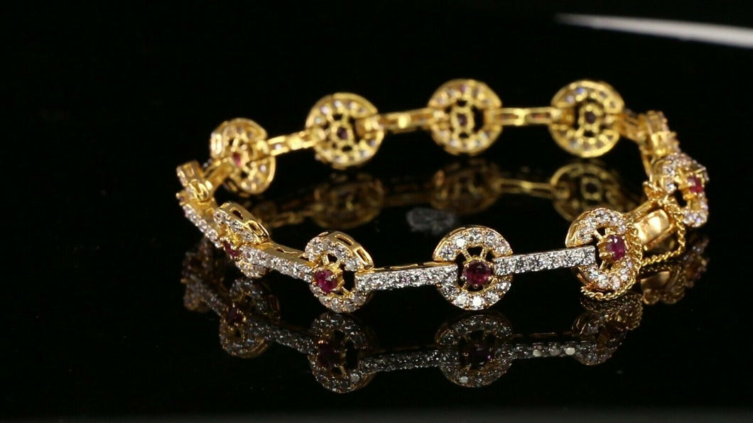 22k Bracelet Solid Gold Simple Charm Stone Encrusted With Ruby Design b4076