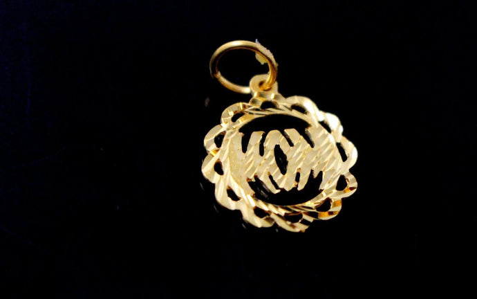22k 22ct Solid Gold Charm Mom Pendant Round Design p1227 ns | Royal Dubai Jewellers