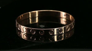 22k Bangle Solid Gold Simple Dazzling Rose Gold Italian Modern  Design B4183
