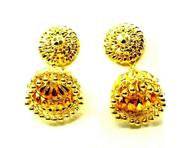 22k 22ct Solid Gold ELEGANT Simple Jhumki With Bell Dangles Design E7214