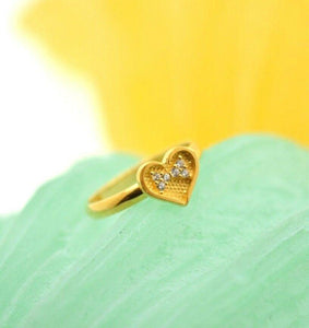 "22k 22ct Solid Gold CUTE ZIRCONIA HEART BABY KID Ring ""RESIZABLE"" size 4.2 r738 