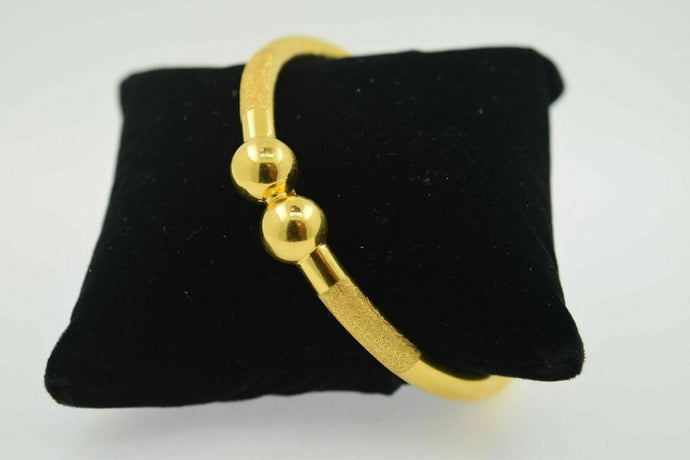 Handmade 22K SOLID GOLD BANGLE BRACELETS BRACELET High Polish Ball Diamond Cut | Handmade