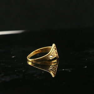 "22k Ring Solid Gold ELEGANT Charm Geometric Band  SIZE 5.25 ""RESIZABLE"" r2114"