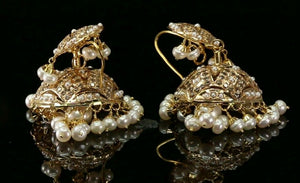 22k 22ct Solid Gold ELEGANT Simple Filigree Jhumki with Pearl Design E7300