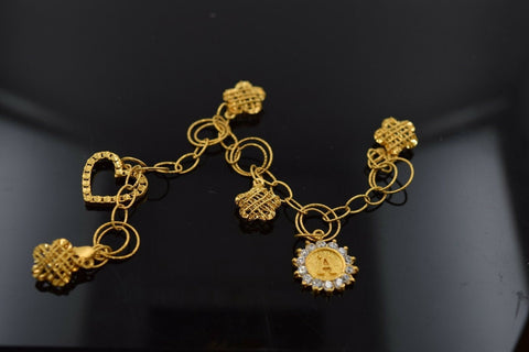 "22k 22ct Solid Gold ELEGANT Bracelet letter ""A"" DANGLING with unique BOX  B314 