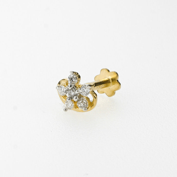 18k Stunning Modern Diamond Solid Gold Nose pin Unique Design Comfort Fit NP3