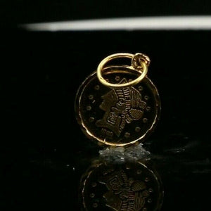 22k Pendant Solid Gold ELEGANT Classic Alexander the Great Coin Pendant p2168