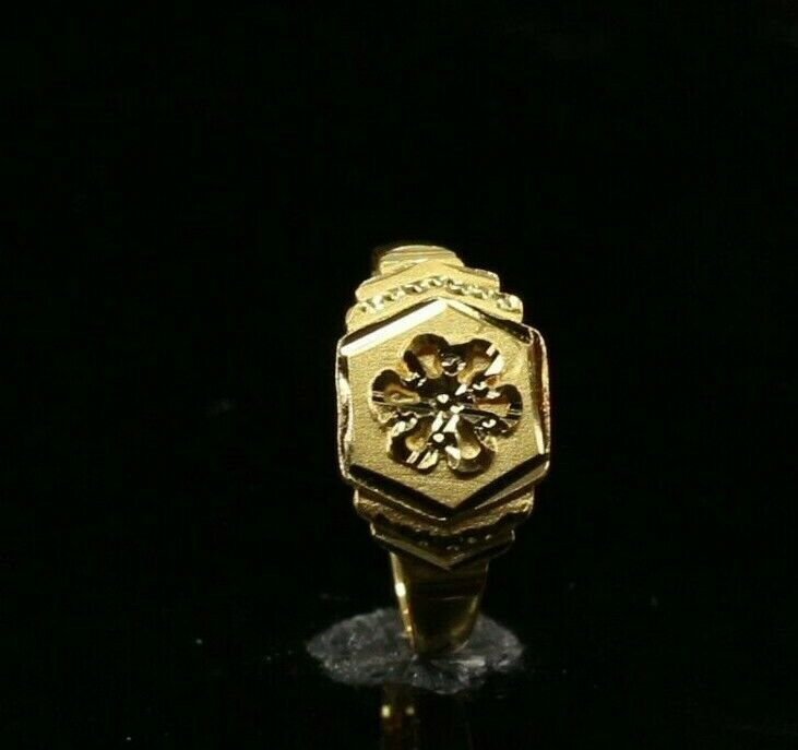 22k 22ct Solid Gold ELEGANT Charm Simple Floral Ring SIZE 8.50