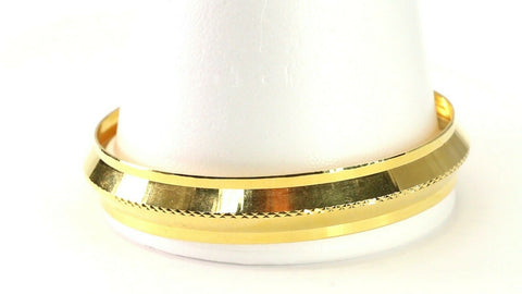 22k Bangle Solid Gold Simple Charm Diamond Cut Men Design Size 3 inch B4226