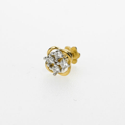 18k Stunning Modern Diamond Solid Gold Nose pin Unique Design Comfort Fit NP49