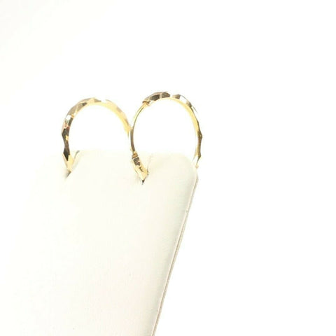 22k  Earrings Solid Gold ELEGANT Simple Diamond Cut Hoops Design E6404 | Royal Dubai Jewellers