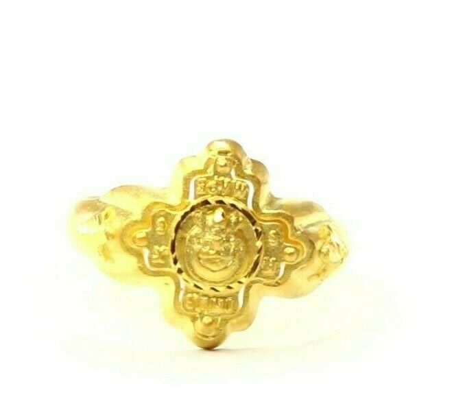 22k Ring Solid Gold ELEGANT Charm Mens Cross Band  SIZE 11.5