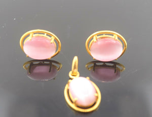 22k Solid Gold ELEGANT PINK STONE Pendant Set Modern Design S19 | Royal Dubai Jewellers