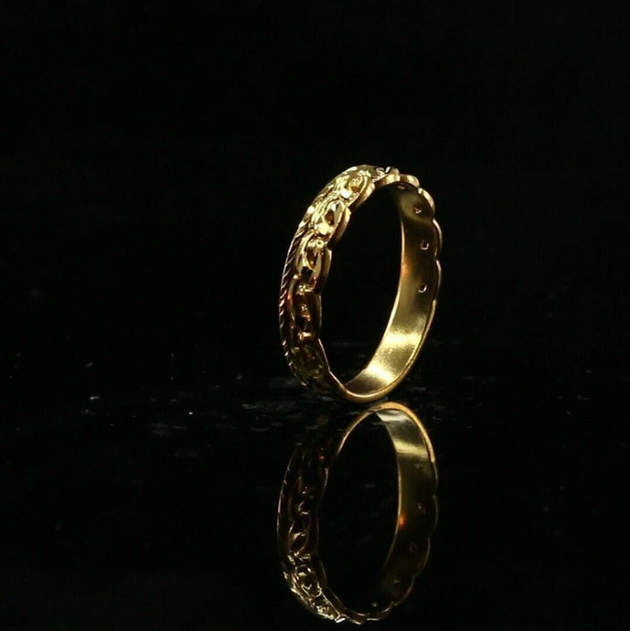 22ct 22k Solid Gold Elegant Classic Link Ladies Ring Size R2066mon | Royal Dubai Jewellers