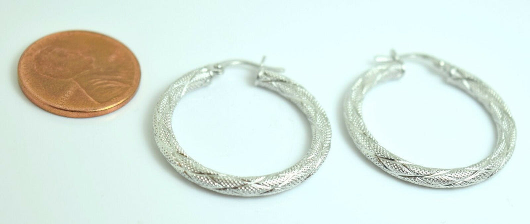 18k 18ct solid white gold ELEGANT Hoop EARRINGS with FREE BOX E315 | Royal Dubai Jewellers