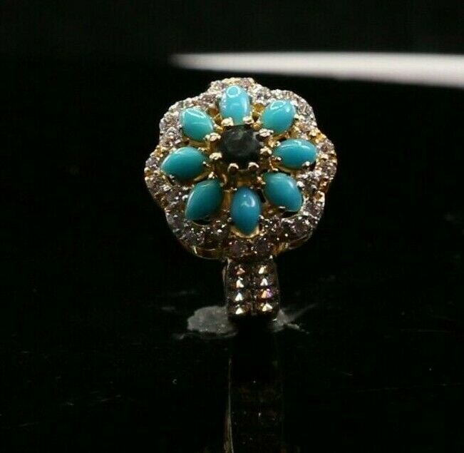 22k Ring Solid Gold ELEGANT Ladies Turquoise Ring SIZE 6.5