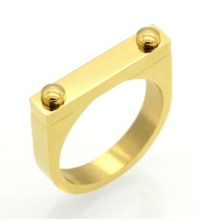 Ring Ladies Solid Gold  Simple Designer Interlock Band SM35