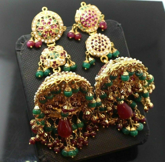 22k 22ct Solid Gold LARGE JADAU JHUMKA RUBY DROP DANGLING HANGING Earrings E5385 | Royal Dubai Jewellers