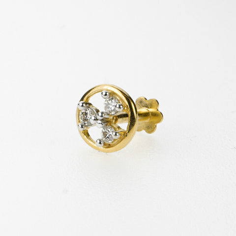 18k Stunning Modern Diamond Solid Gold Nose pin Unique Design Comfort Fit NP6
