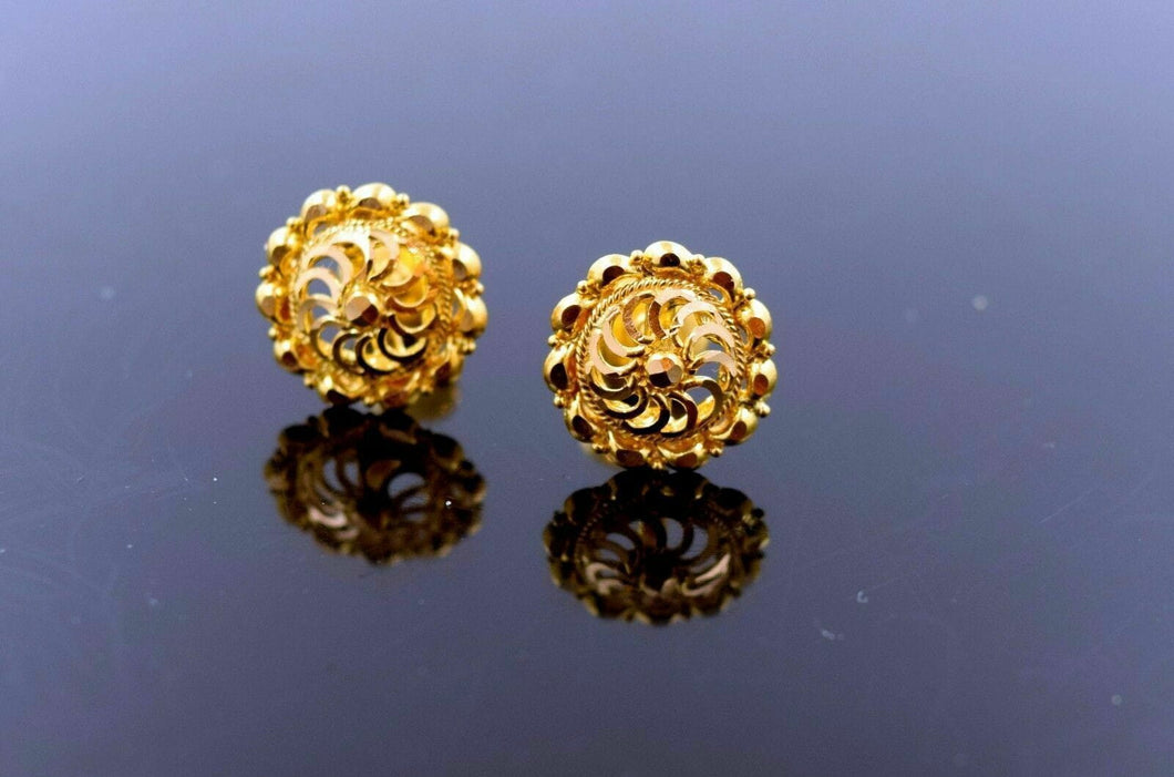 22k 22ct Solid Gold FANCY SMALL FILIGREE DESIGN ROUND FLOWER Earrings BOX E2071 | Royal Dubai Jwellers