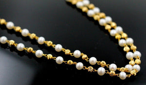 22k Gold Yellow 22ct Elegant PEARL DESIGNR CHAIN WITH Length 20inch c762 | Royal Dubai Jewellers
