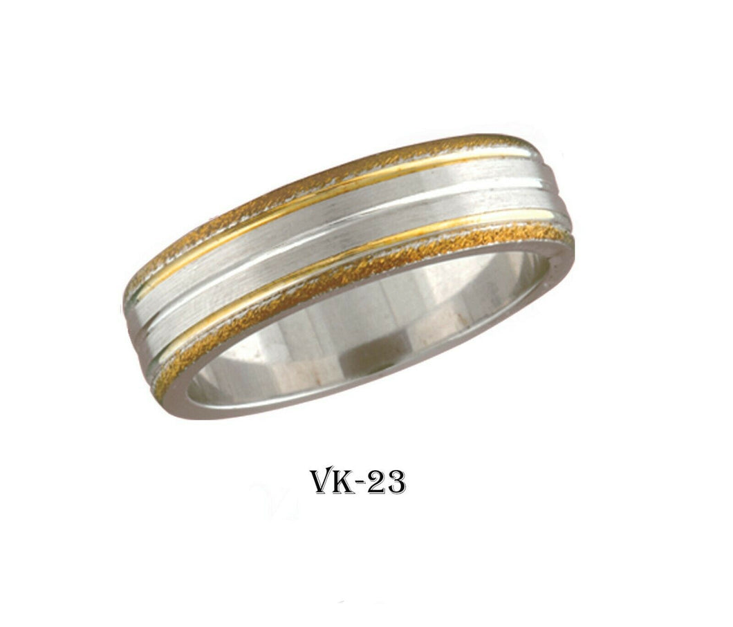 18k Solid Gold Elegant Ladies Modern Matte Finish Flat Band 6MM Ring Vk23v
