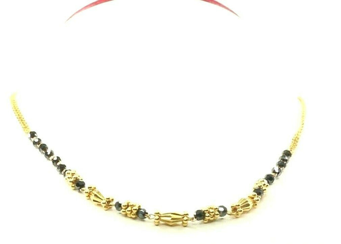 22k Yellow Solid Gold Chain Necklace Snake and Beads Design Length 16 inch C3112