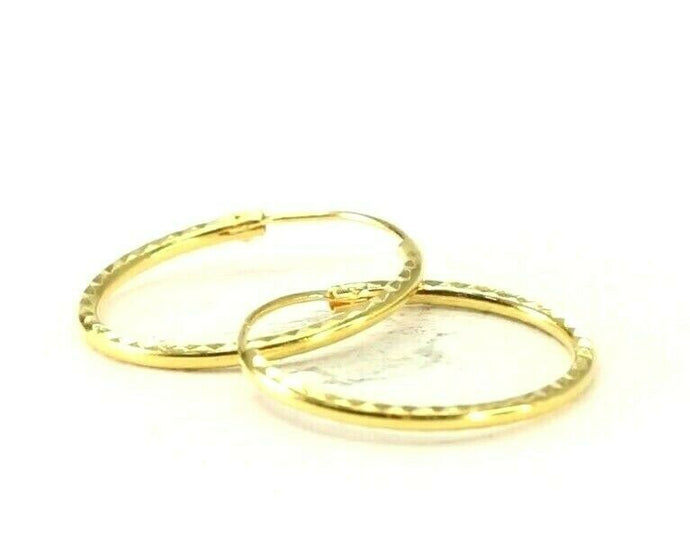 22k Earrings Solid Gold ELEGANT Simple Diamond Cut Hoops Plain Design E8163