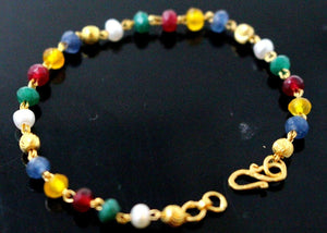 22k 22ct Gold BEADS PEARL RUBY BLUE SAPPHIRE EMERALD BABY KIDS Bracelet CB1142 | Royal Dubai Jewellers