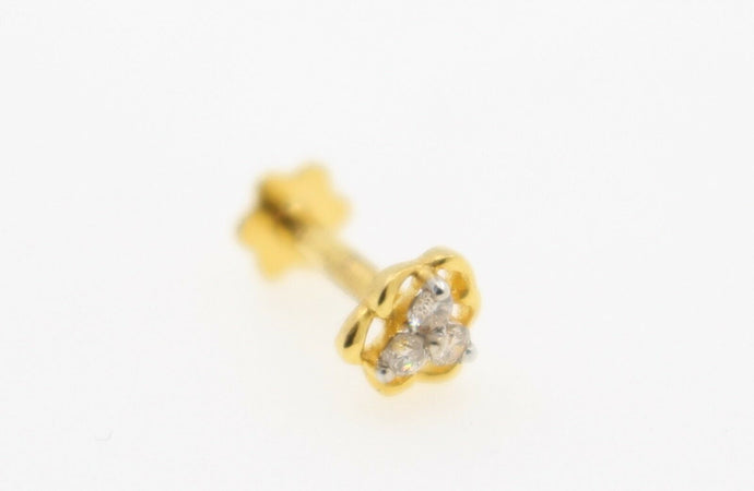 Authentic 18K Yellow Gold Charm Nose Pin Stud Diamond VS2 n314 | Forever22karat