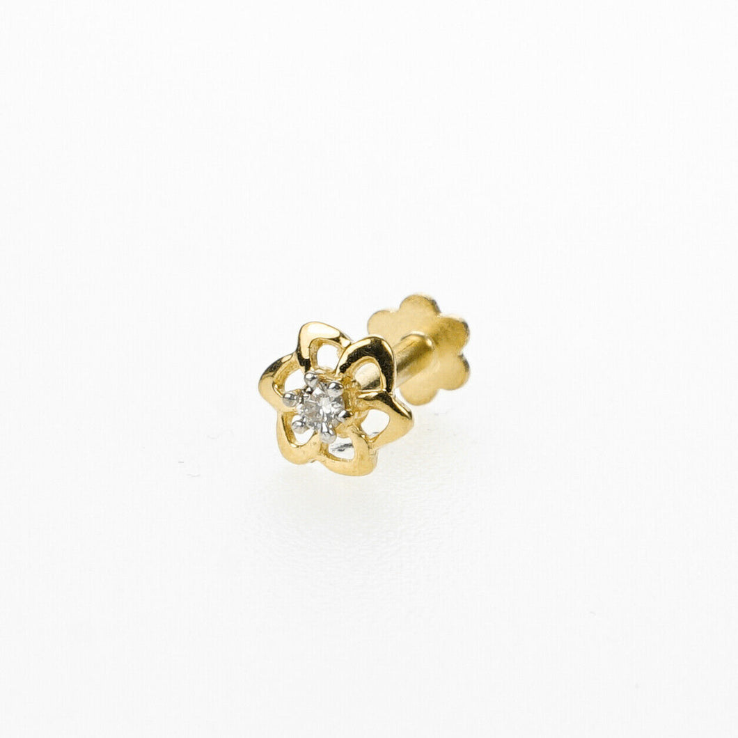 18k Stunning Modern Diamond Solid Gold Nose pin Unique Design Comfort Fit NP21 - Royal Dubai Jewellers