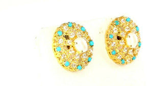 22k Earrings Solid Gold ELEGANT Simple Pearl and Turquoise Stud Design e7316