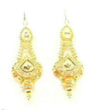 22k Earrings Solid Gold ELEGANT Simple Glossy Dangle and Drop Design E6398 | Royal Dubai Jewellers