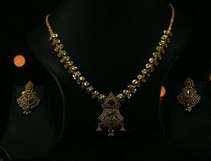 22k Beautiful Solid Gold Classic Filigree Necklace Set For Ladies LS231