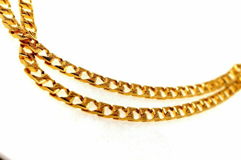22k Gold Solid Yellow Elegant Chain Simple Cuban Link Design Length 22 inch son | Royal Dubai Jwellers