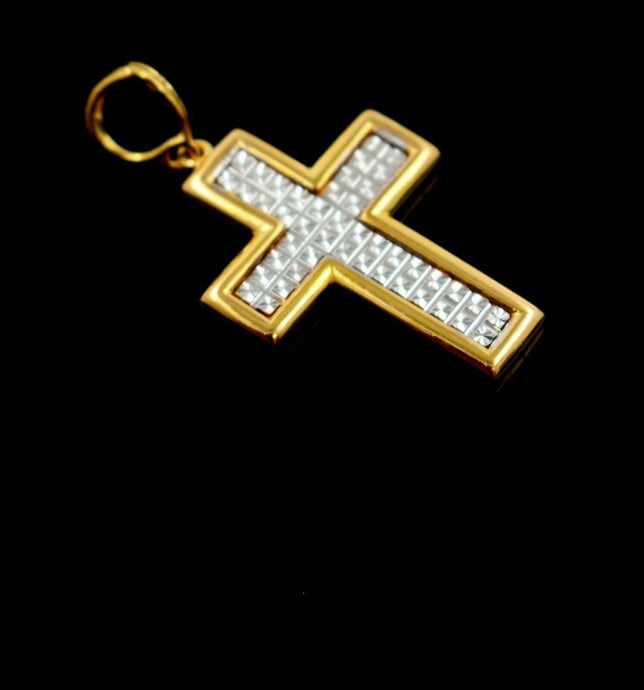 22k 22ct Solid Gold Cross Christian JESUS christ Pendant Charm Diamond Cut P890 | Royal Dubai Jewellers