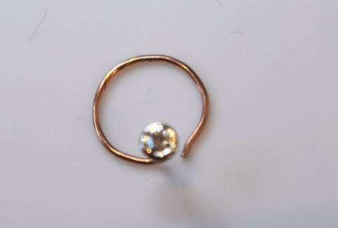 Authentic 18K Rose Gold Nose Ring Round-Cut-Diamond VS2 n074 | Forever22karat